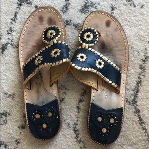 Navy blue with gold trim Jack Rogers sandal